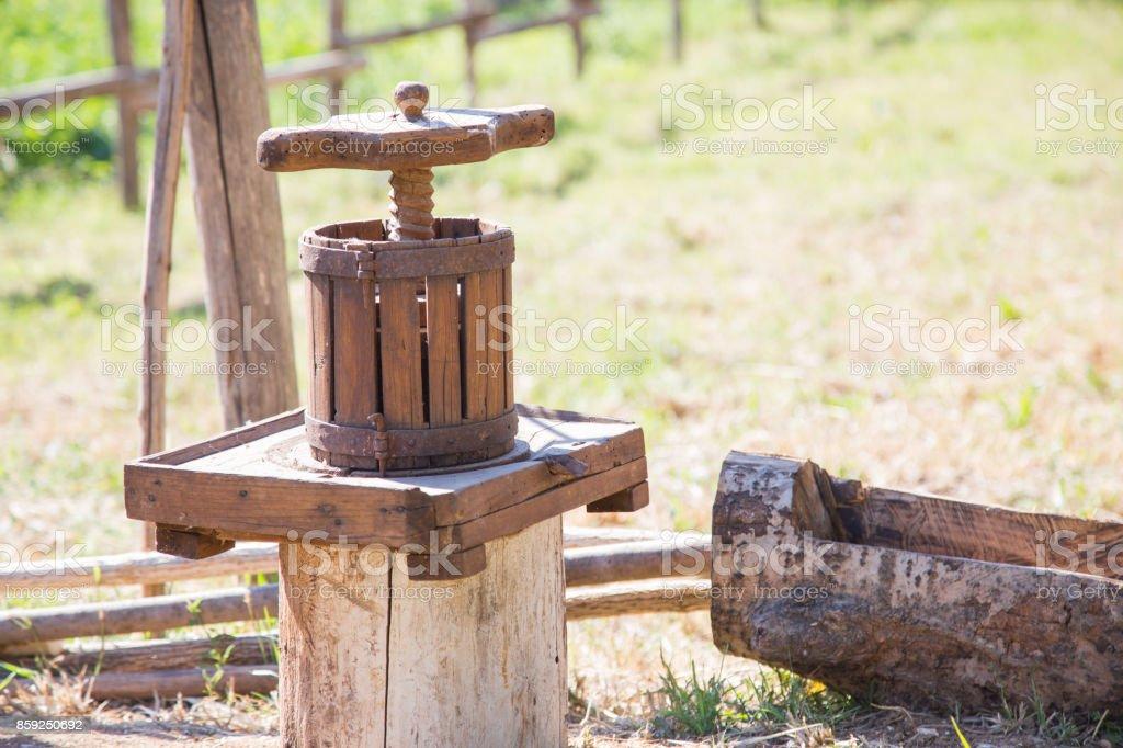 Winepress stock photo