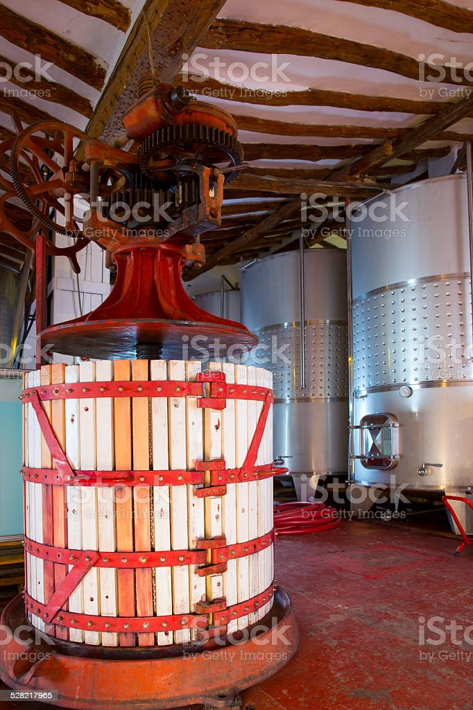 Winery Press and Stainless steel fermentation tanks stock photo
