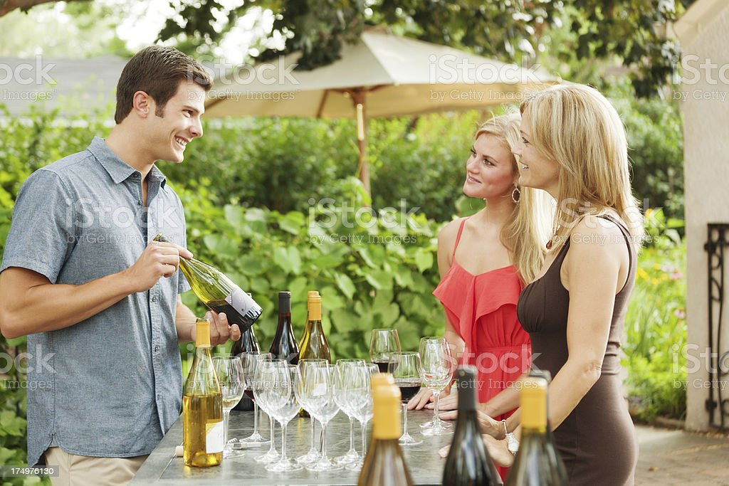 Winery Serving Winetasting Tourists Outdoor by the Vineyard Hz royalty-free stock photo