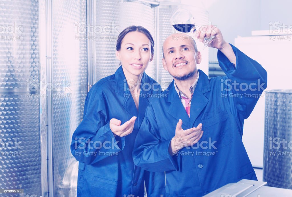 Winery workers holding glass in wine factory stock photo