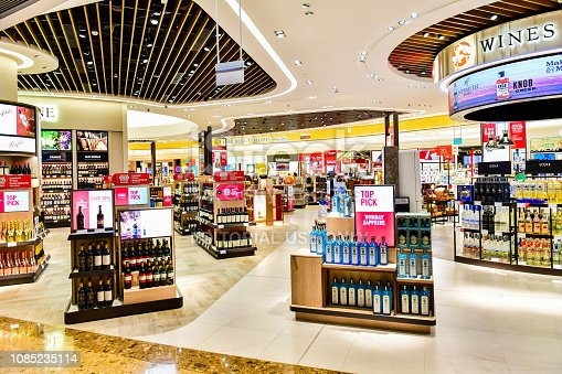 Changi airport, Singapore - OCTOBER 3,2018 : Wines and Spirits store at Singapore Changi Airport Terminal 4 is a newly built passenger terminal building at Singapore