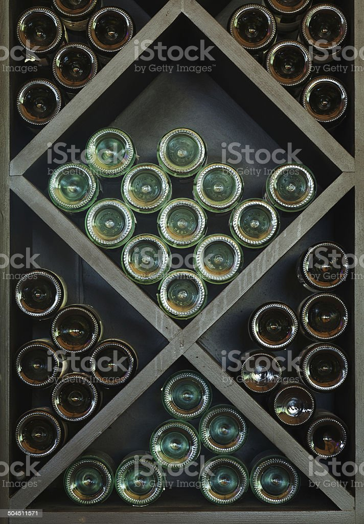 Wines on Wine Rack stock photo