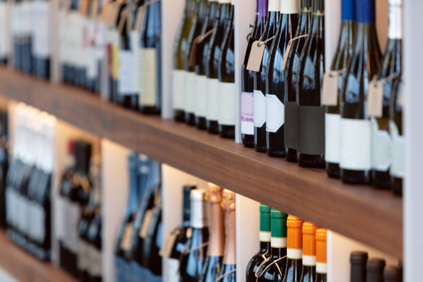 Wines stacked on shelves stock photo
