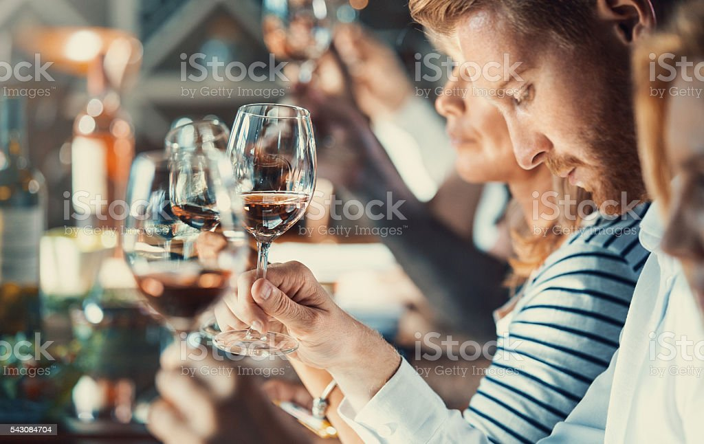 Winetasting event. stock photo