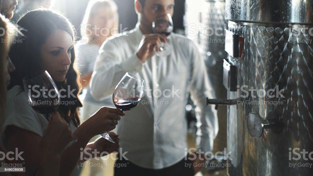 Winetasting in a wine cellar. stock photo