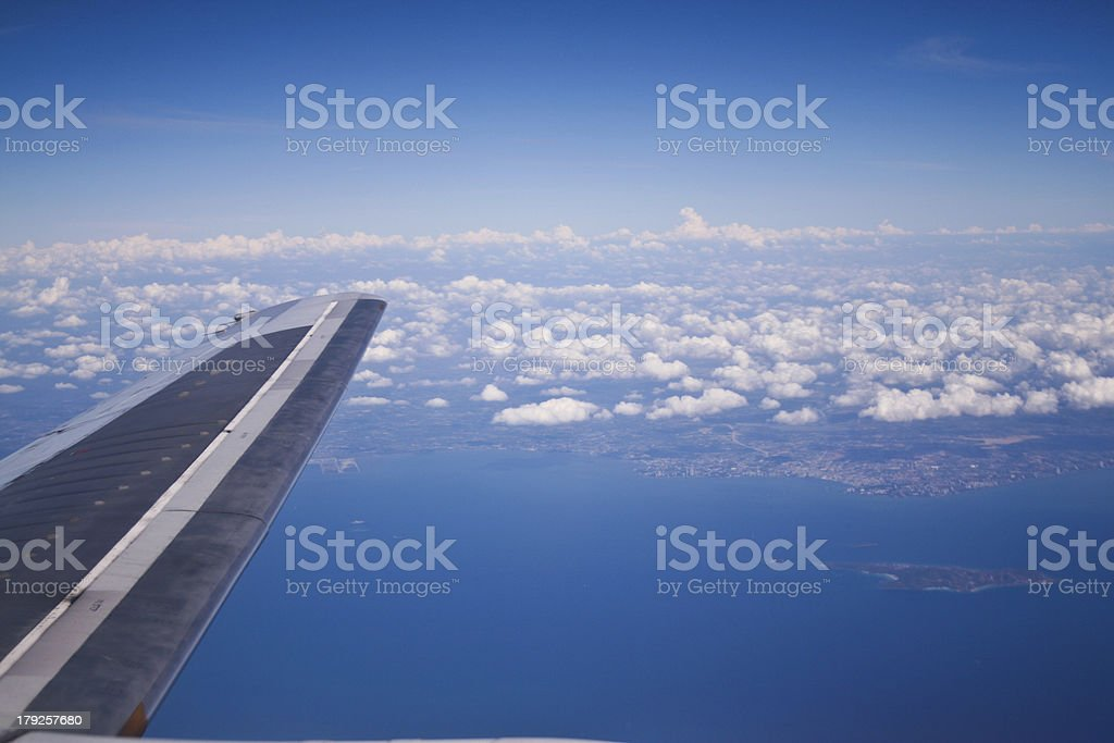 Wing aircraft in the sky. royalty-free stock photo