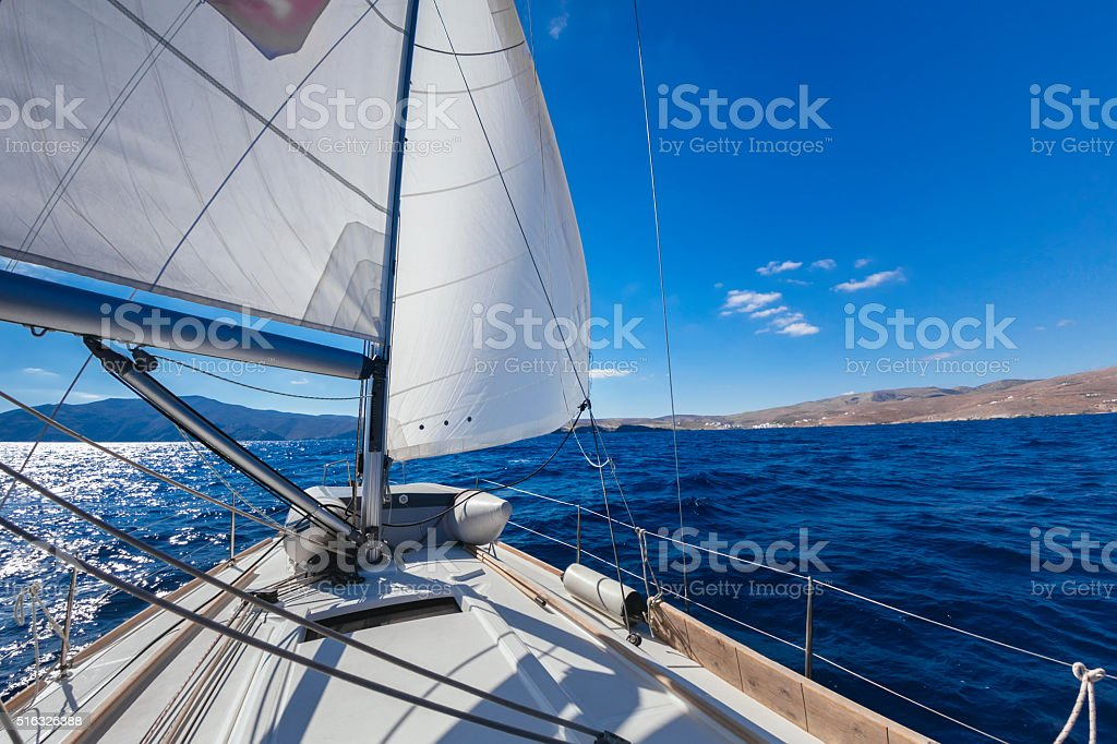 'Wing and wing' sailing on the yacht during the regatta stock photo