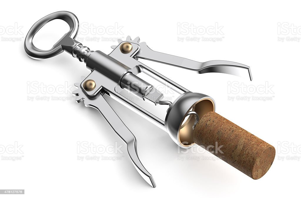wing corkscrew with cork stock photo