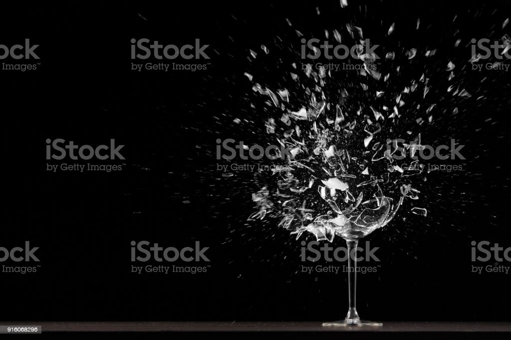 Wing glass explodes stock photo