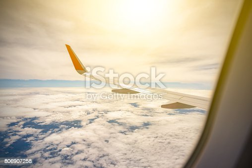 484616224 istock photo Wing of a Airplane above clouds 806907258