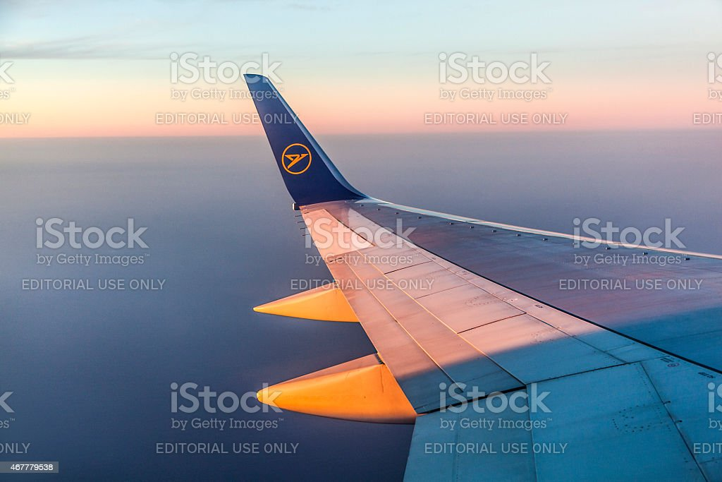 wing of aircraft stock photo
