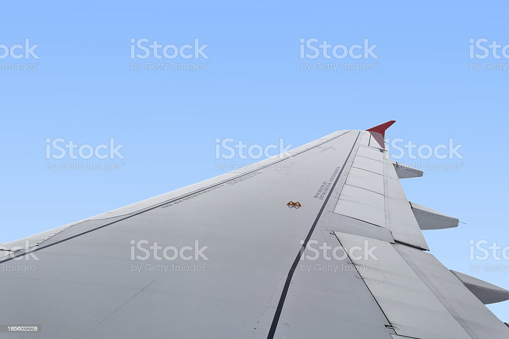 Wing of an airplane royalty-free stock photo