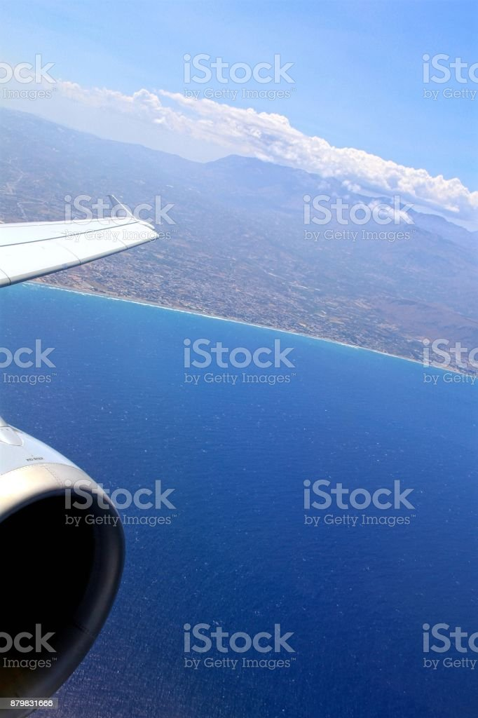 Wing over the Coast of Crete stock photo
