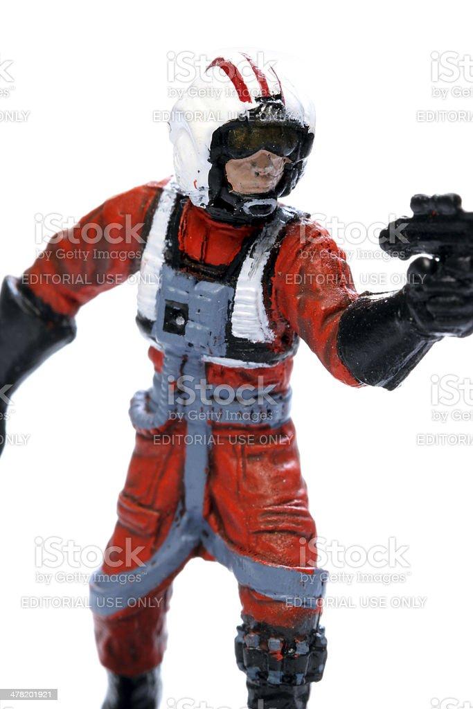 X Wing Pilot Gun Battle stock photo