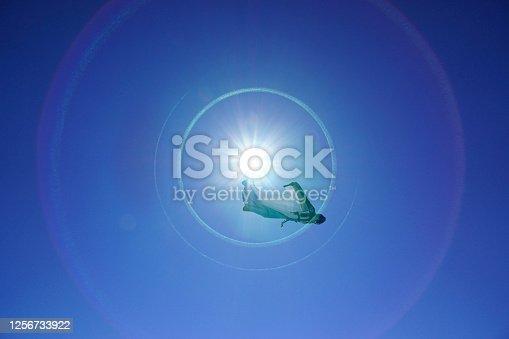 Blue skies above