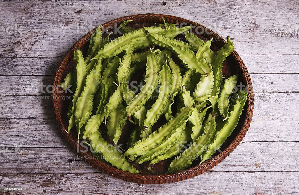 Winged Bean in the threshing basket stock photo