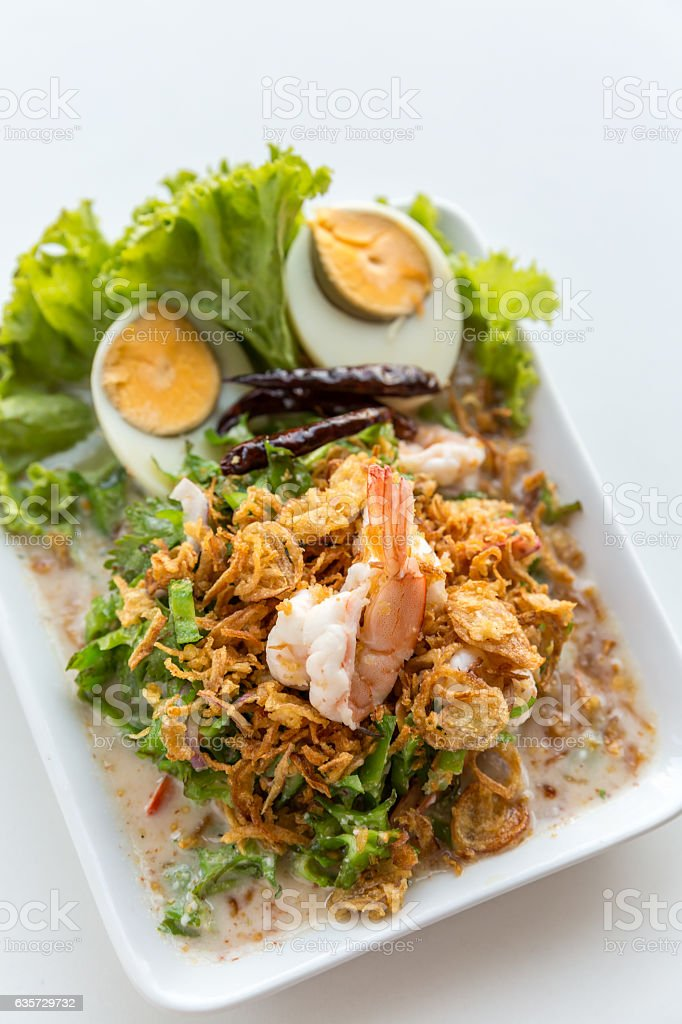 winged bean salad with shrimp stock photo