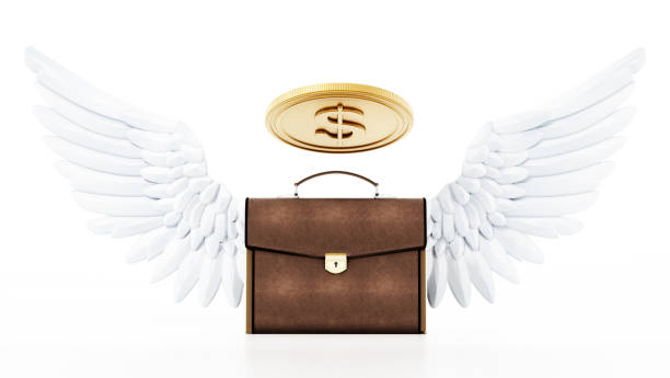 Winged briefcase with coin shaped halo isolated on white. Angel investor concept. Winged briefcase with coin shaped halo isolated on white. Angel investor concept.. investor stock pictures, royalty-free photos & images