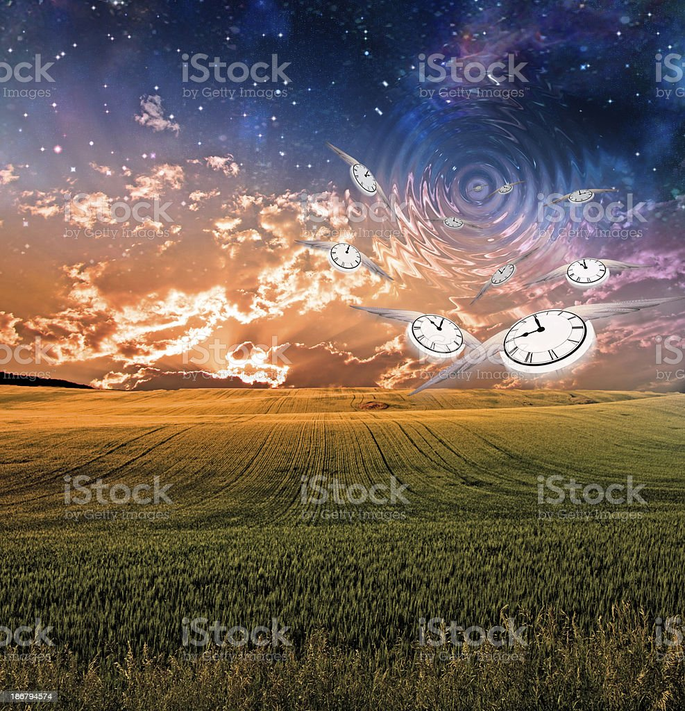 Winged clocks fly into sky creating ripples stock photo