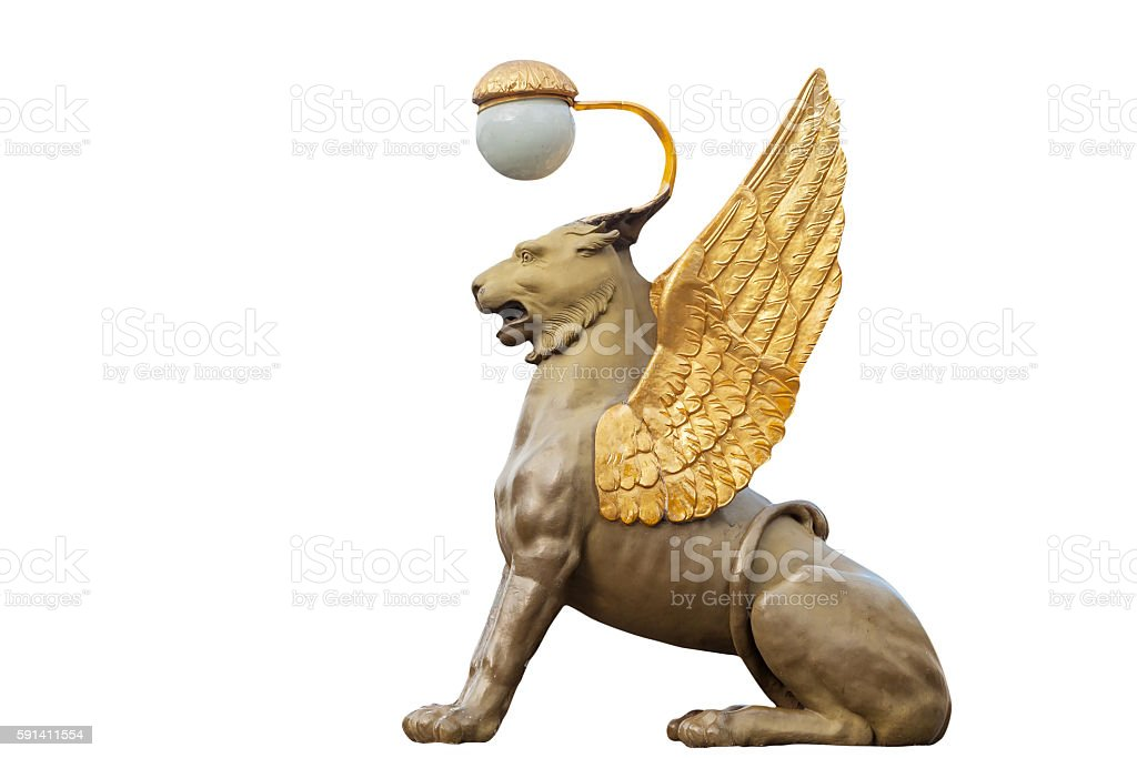 Winged lion  in Saint Petersburg, isolated stock photo