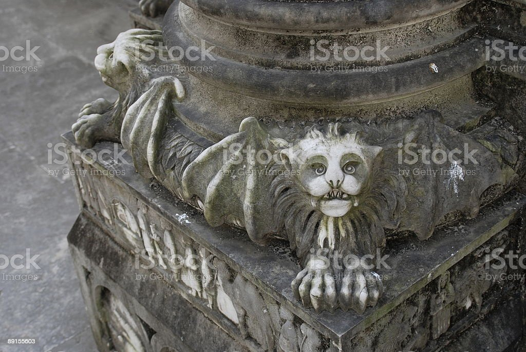 Winged lion in Se Cathedral, Lisobn stock photo