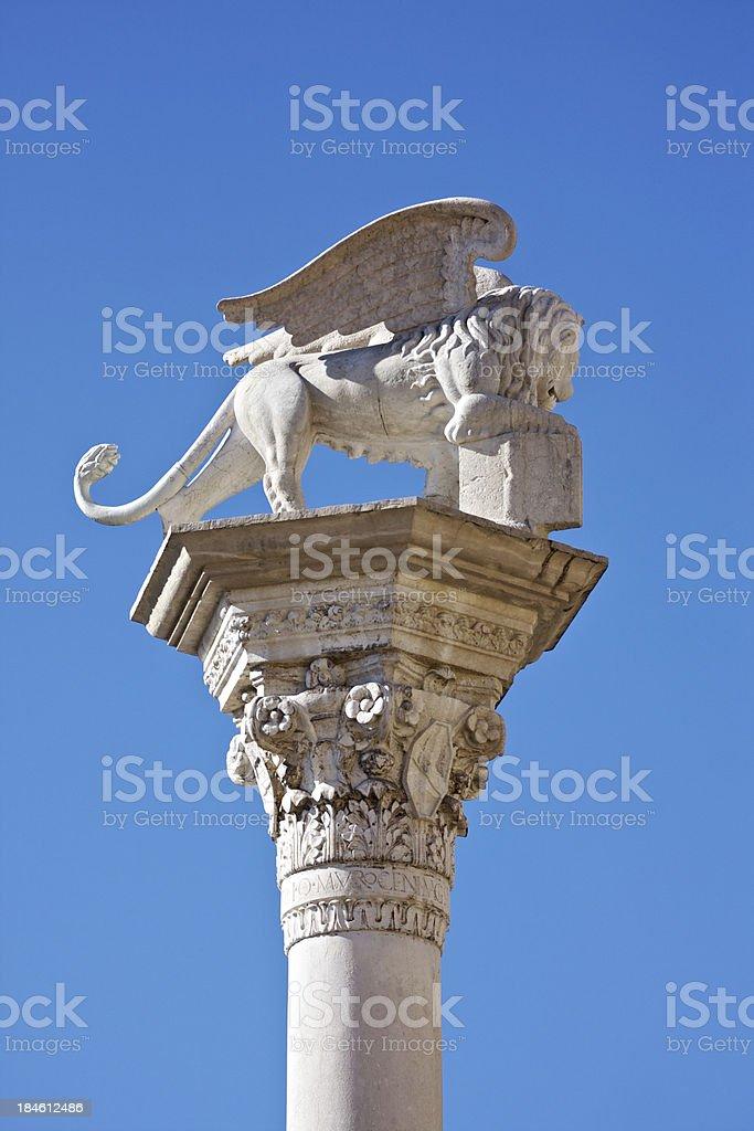 Winged lion statue, Venice symbol, in Piazza dei Signori. Vicenza royalty-free stock photo