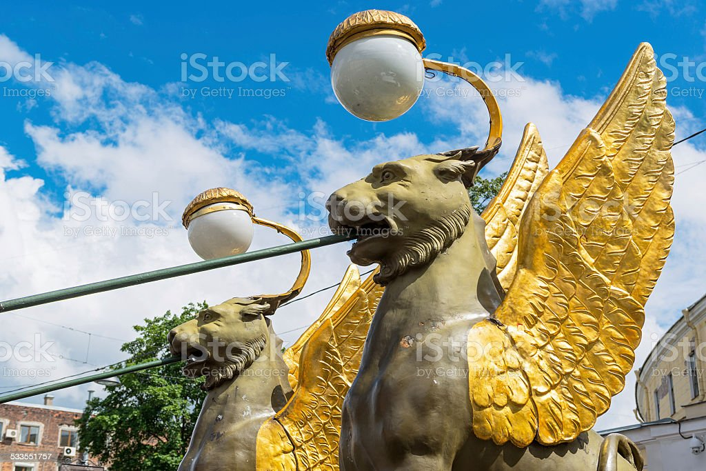 Winged lions in Saint Petersburg stock photo