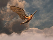 istock Winged man flying 488121301
