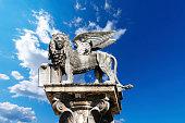 The winged lion of St Mark, symbol of the Venetian Republic, in Piazza delle Erbe, Verona (UNESCO world heritage site), Veneto, Italy