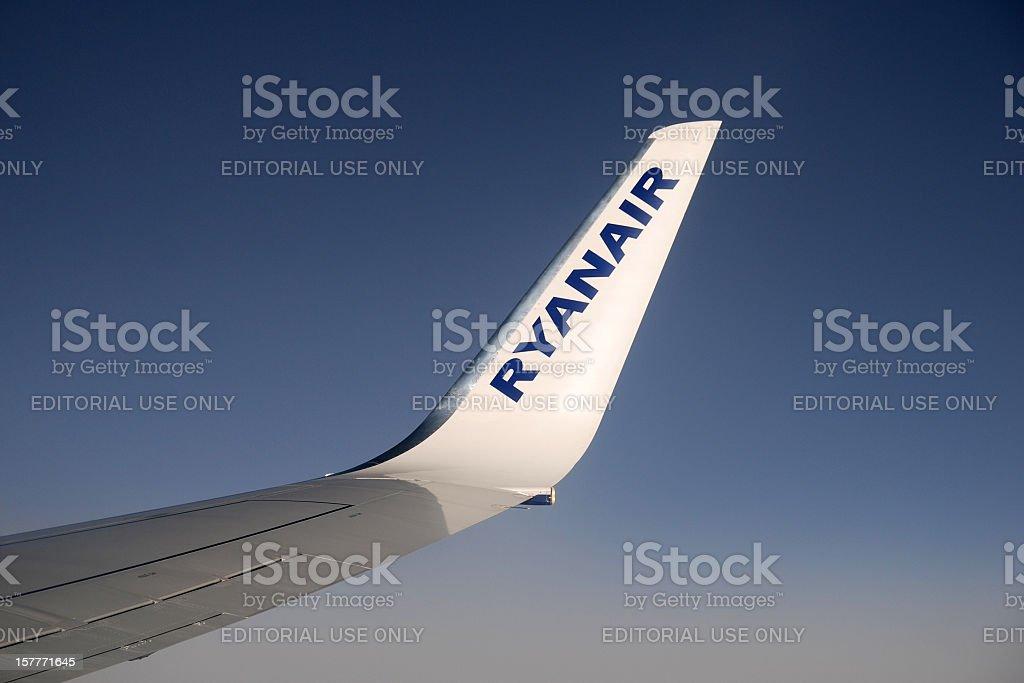 Winglet of Ryanair aircraft. stock photo