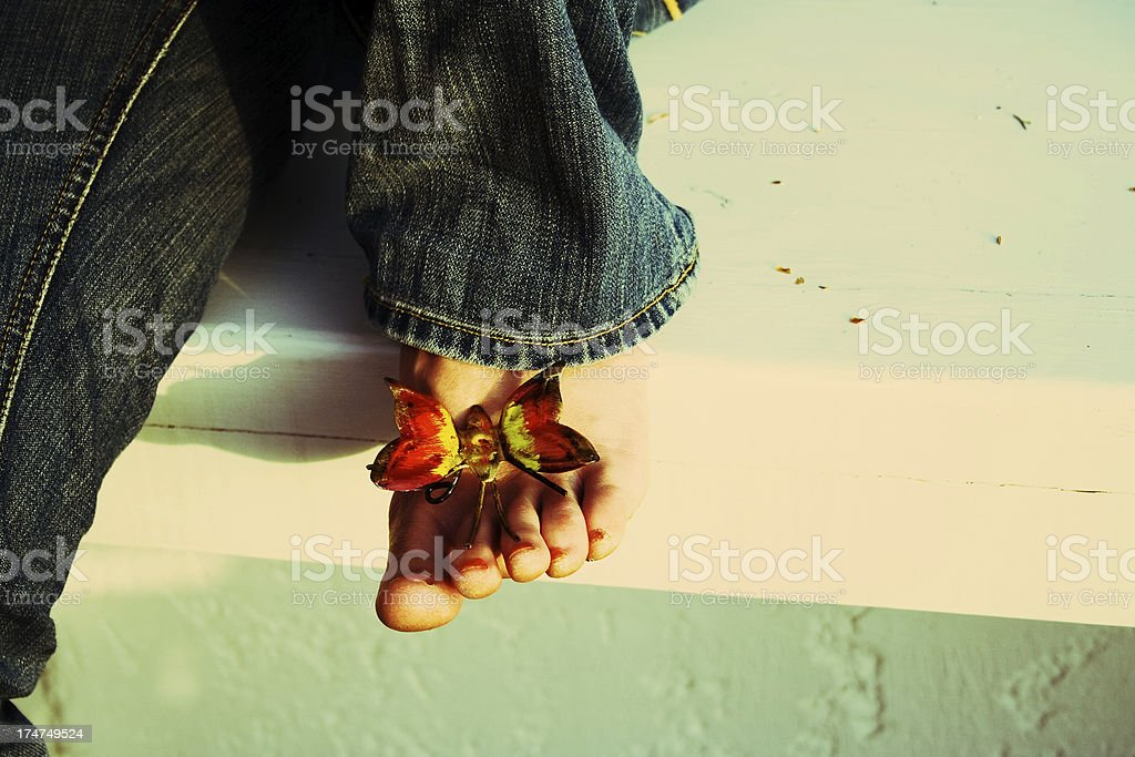 Wings on her feet royalty-free stock photo