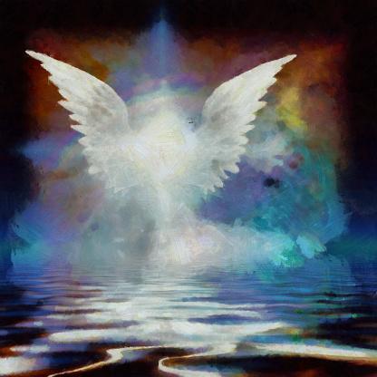 Wings over water. Digital painting. 3D rendering