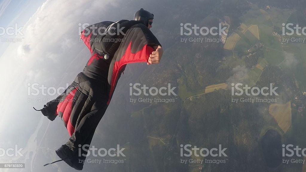 Wingsuit skydiving stock photo