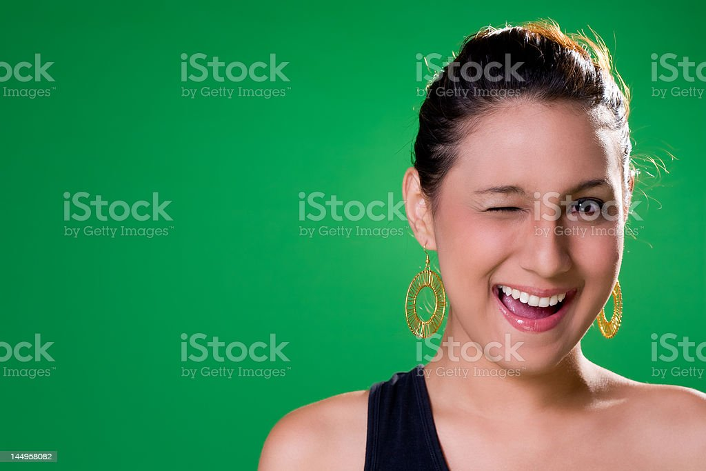wink and smile stock photo