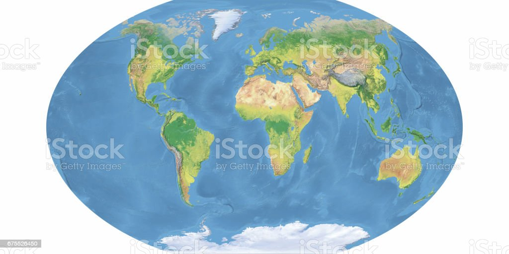 Winkel Projection Of Blue Earth Topographic Map Stock Photo IStock - Earth topographic map