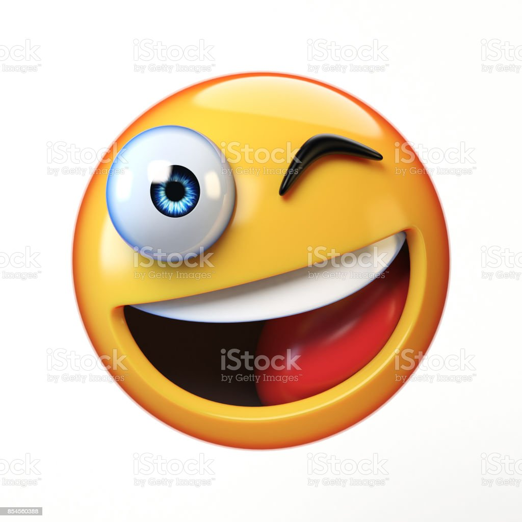 Winking emoji isolated on white background, smiling winking face emoticon 3d renderingWinking emoji isolated on white background, smiling winking face emoticon stock photo