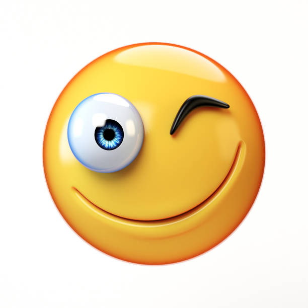winking emoji isolated on white background, smiling winking face emoticon 3d renderingwinking emoji isolated on white background, smiling winking face emoticon - emoticons stock photos and pictures