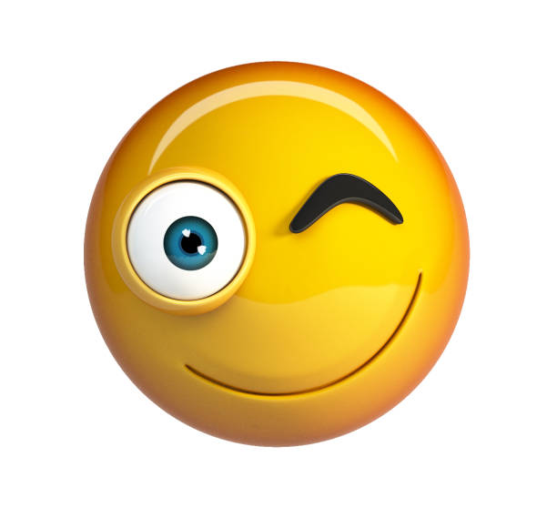 winking emoji. smiling winking face emoticon. - excited emoji stock photos and pictures