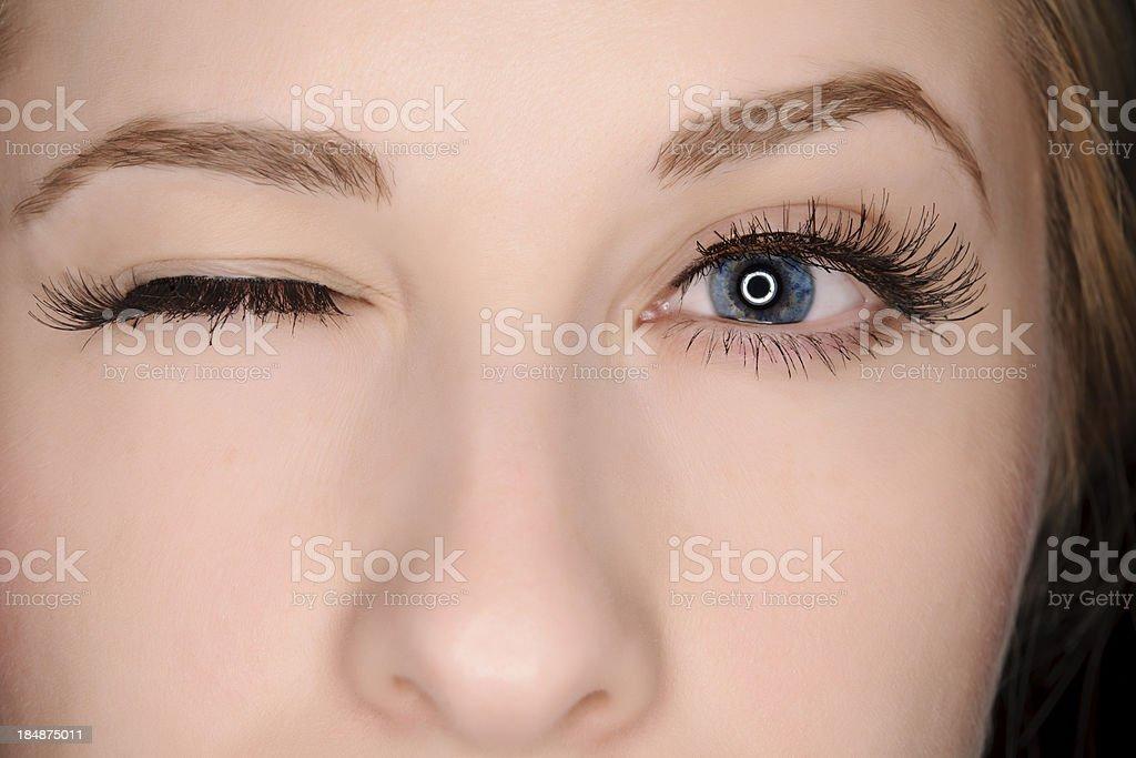winking eye stock photo