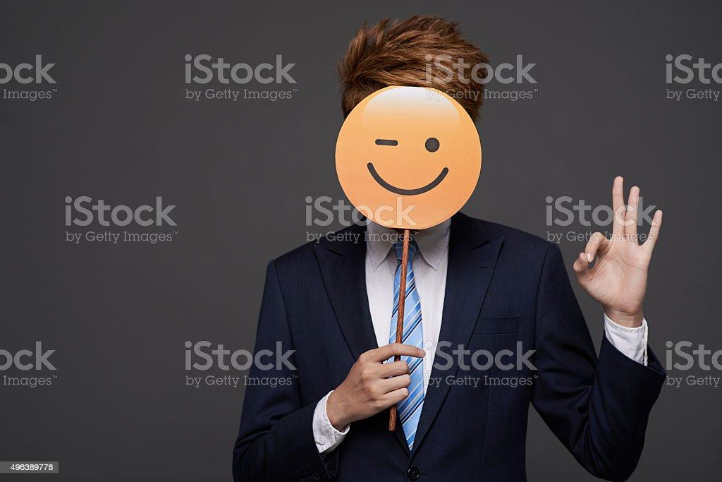 Winking face stock photo