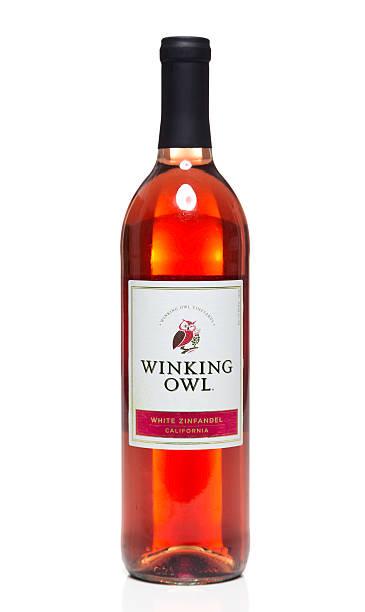 Winking Owl White Zinfandel California wine bottle stock photo