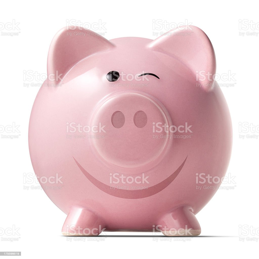 Winking piggybank on white background royalty-free stock photo
