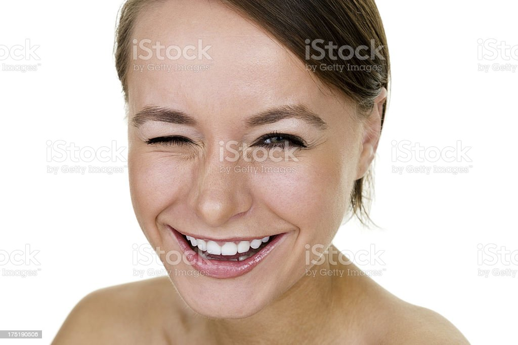 Winking woman stock photo