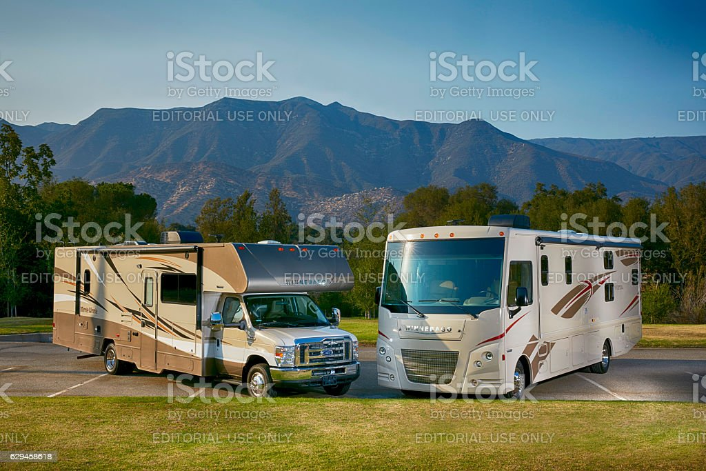 Winnebago Vista and mini winnie 2017 models horizontal stock photo