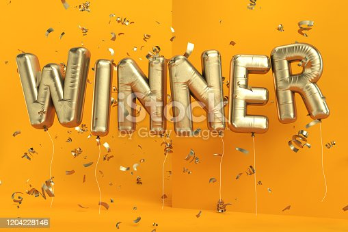 Winner Balloon Sign with Confetti. 3d Render