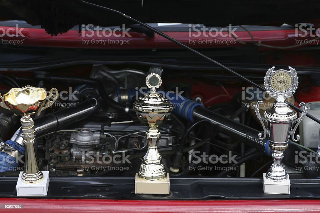 Winner car shows its gold and silver cups royalty-free stock photo