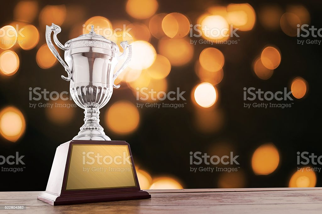 winner cup with abstract background stock photo
