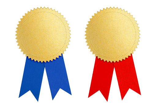 istock winner gold seal medal award with blue and red ribbon 531844114