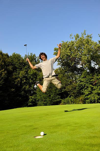 Winner golfer stock photo