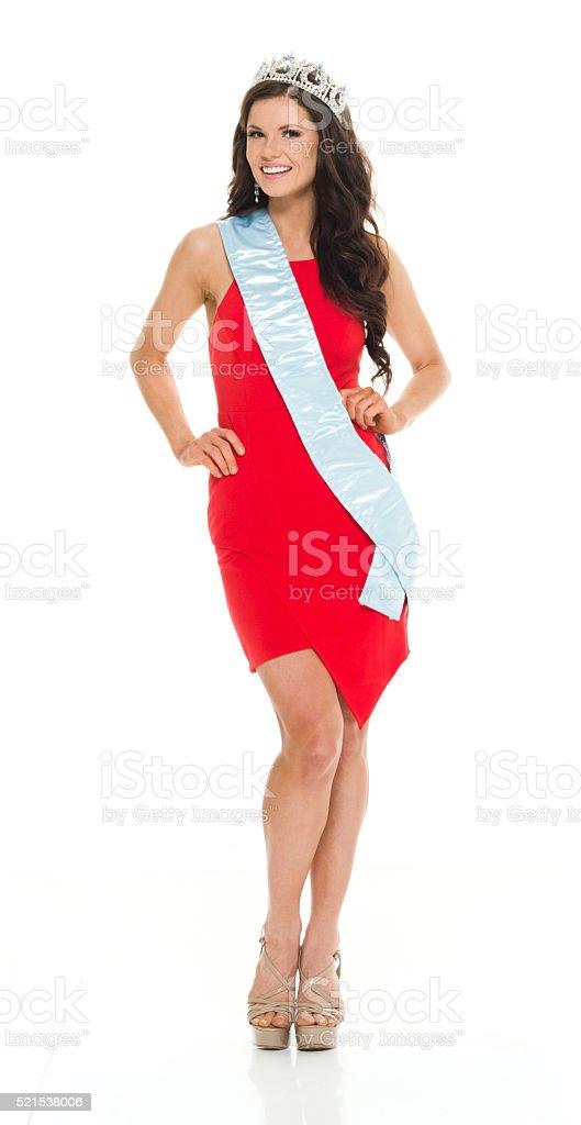 Winner of beauty contest stock photo